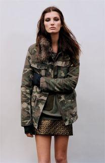TOPSHOP Camo Jacket & Metallic Miniskirt