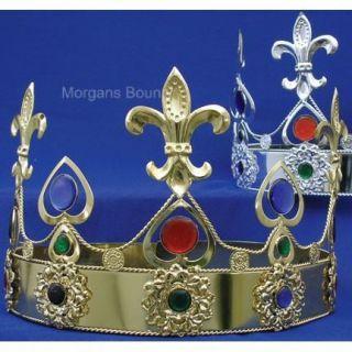King Crown Gold or Silver Stones Medieval Fleur Renaissance Large
