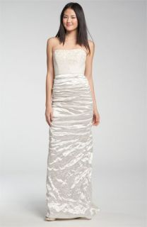 Nicole Miller Embroidered Bodice Ruched Satin Gown