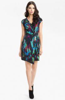 Presley Skye Hannah Print Faux Wrap Silk Dress