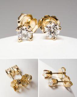 Genuine Round Brilliant Diamond Stud Earrings Solid 14k Gold Fine