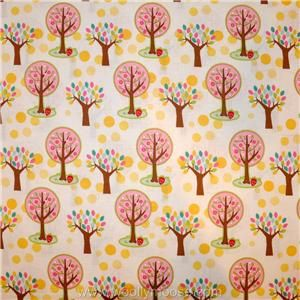 HALF YARD Hoos Hoos In The Forest RILEY BLAKE Pink Tree Yellow Dot