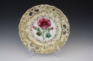 C1880 English Davenport Staffordshire Hand Painted Porcelain Floral