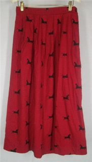 Red Size 10 David Brooks Ltd Pleated Skirt Houndstooth Horse Print