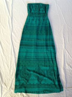 Twelfth Street by Cynthia Vincent Turquoise Silk Maxi Dress Size M