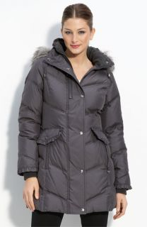Betsey Johnson Quilted Down Parka with Faux Fur Trim