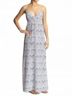 Cynthia Vincent Twelfth Street $196 Long Blue Print Silk Maxi Dress