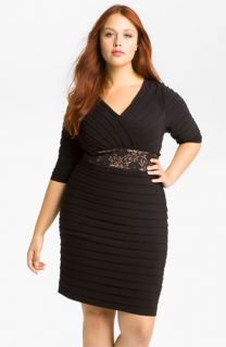 Adrianna Papell Lace Shutter Pleated Dress (Plus)