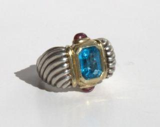 David Yurman Cable Ring 14k Gold 925 Sterling Topaz Amethyst Sz 6 1 2
