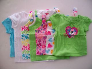 Girls Blue Green White Tee Shirt Yellow Pink Tank Top