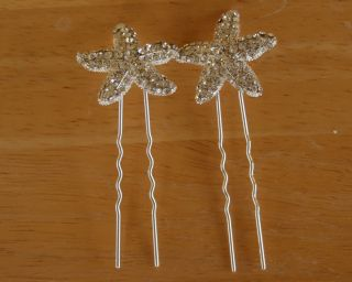 Crystal Starfish Beach Wedding Bridal Silver Hair Pin Set of Two Free