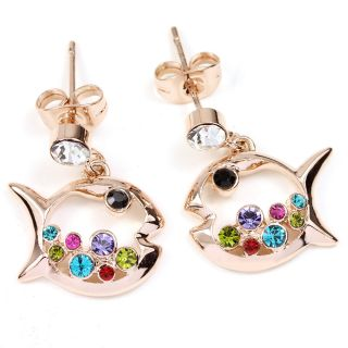 Rose Gold GP Swarovski Crystal Fish Drop Earrings N904