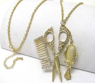 Scissors Necklace Clear Crystal Comb Mirror Hair Stylist Beautician