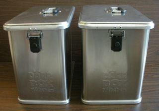 Darr aluminum pannier cases attach to Hepco & Becker rack carrier BMW
