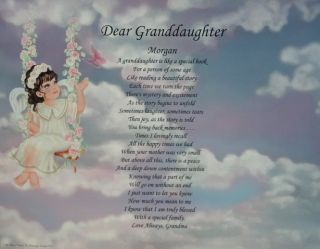Dear Granddaughter Personalized Poem Birthday or Christmas Gift