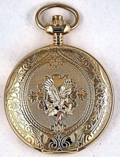South Dakota Gold Pocket Watch with Gold Eagle Grapes and Leaves