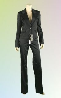 New Roberto Cavalli Black Satin 2pc Pants Jacket Dress Suit 46 12