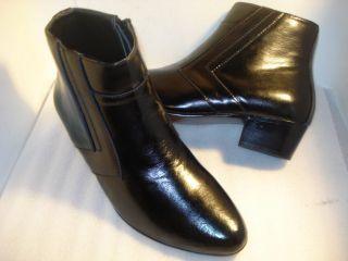 """D""""Italo Men's Boot Black Cuban Heel US Sz 7 W"""