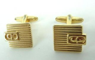 Christian Dior CD Gold Color Square Cufflinks Made in Germany
