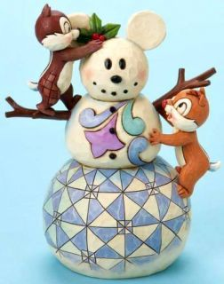 JIM SHORE DISNEY CHIP & DALE W/MICKEY SNOWMAN FREE S/H
