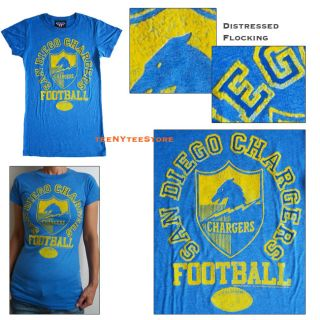 NFL T Shirt San Diego Chargers Junk Food Distressed Flocking Fitted