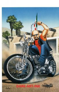 David Mann Motorcycle Art Poster Mexican Burnout Print Easyriders