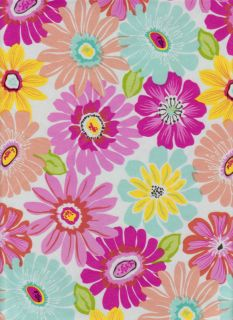 Daisy Floral Vinyl Tablecloth Large Colorful Flowers Flannel Back Free