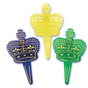 24 Mardi Gras Crowns Cupcake Toppers Picks Party Favors Supplies Food