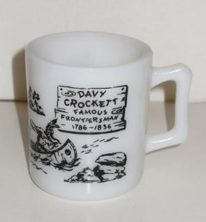 Vtg Davy Crockett Childs Mug or Cup by Hazel Atlas White Milk Glass w