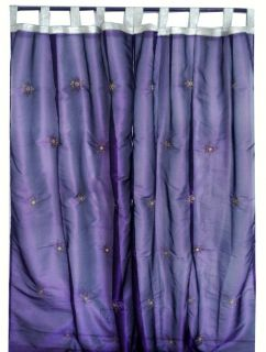 Purple 2 Window Door Stunning Organza Sheer Curtains Panels 92