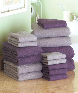 16 PC Cotton Bath Towel Set Plum Gray Bath Sheets Hand Towels