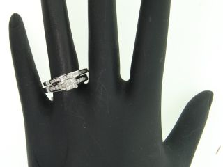Ladies 10K White Gold 4 Stone Diamond Engagement Ring Wedding Band
