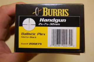 Burris Handgun 2 7X32 Ballistic Plex Posi Lock Matte Scope New