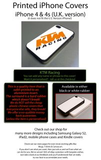 KTM Racing Fits iPhone 4 4S Cover Case Supermoto Superbike White