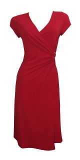 Red Cap Sleeve Faux Wrap Day Dress Kelly Size 10 New