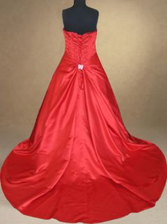 Red Wedding Dress Bridal Evening Prom Party Ball Gown