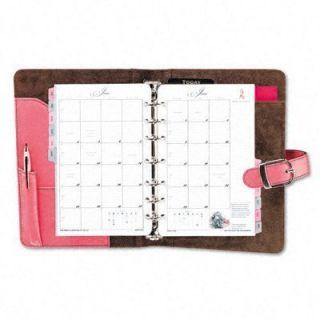 Day Timer Desk Size Napa Leather Pink Ribbon Organizer Planner Starter