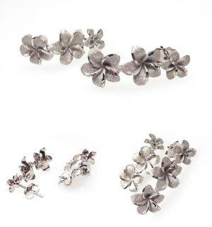 Hawaiian Jewelry Plumeria Flower Dangle Earrings Solid 14K White Gold