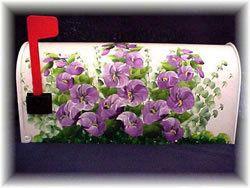 Purple Hollyhocks Custom Decorative Hand Painted Mailboxes Painted
