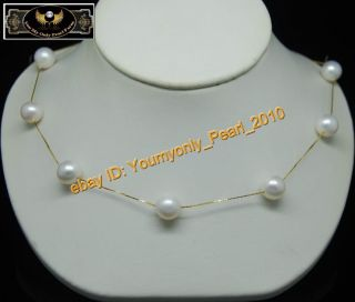 18K Yellow Gold Natural 9 10mm AAA White Pearl Necklaces 16inch