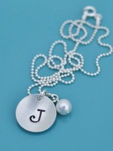 Sterling Silver Initial Hand Stamped Personalized Necklace Name Letter