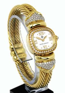david yurman 18k diamonds ladies cable bangle watch