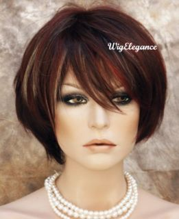 Short Modish Straight Wig Red Blond Auburn Mix w Bangs Very Stylish