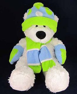 Fun White Plush Stuffed Teddy Bear Hat Scarf Animal Soft Cute
