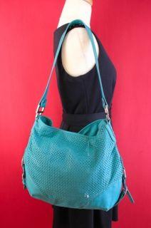 Dana Buchman Turquoise Blue Cut Out Print Shoulder Bag Faux Leather