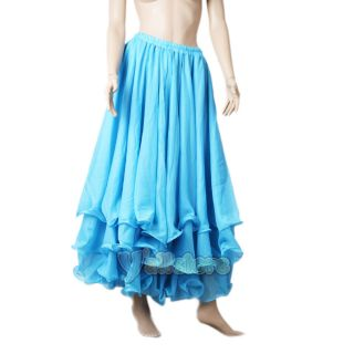 Chiffon Dancing Costume Three Layers Skirt Cake Dress Dancewear Blue
