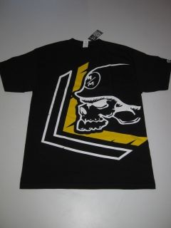 Warn Metal Mulisha Black Yellow Shirt Tee Tshirt Skull Helmet