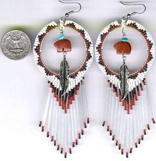 Navajo Beaded Dangle Earrings 52 Spirit Bear Native American Jewelry