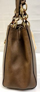 Michael Kors MD Satchel Cynthia Dark Dune Leather Handbag MSRP $328 00