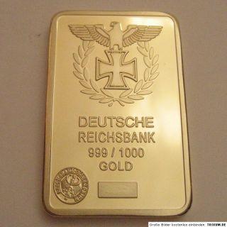 Iron Cross Goldbar 24K 999 9 Gold Reichsbank Eisernes Kreuz Imitat